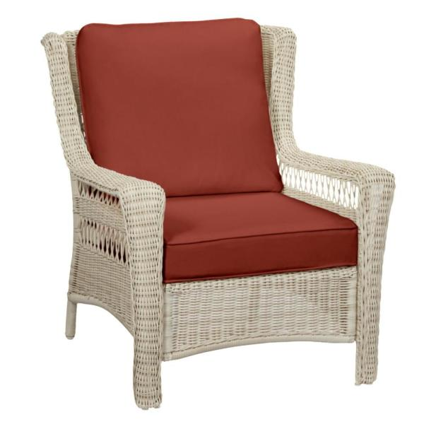 Park Meadows Off-White Wicker Outdoor Patio Lounge Chair with Sunbrella Henna Red Cushions