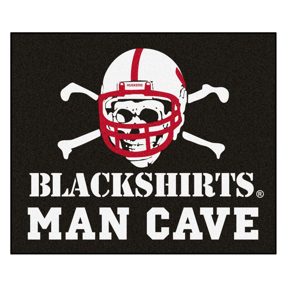 NCAA - University of Nebraska - Black Shirts 5 ft. x 6 ft. Man Cave Tailgater Indoor Area Rug