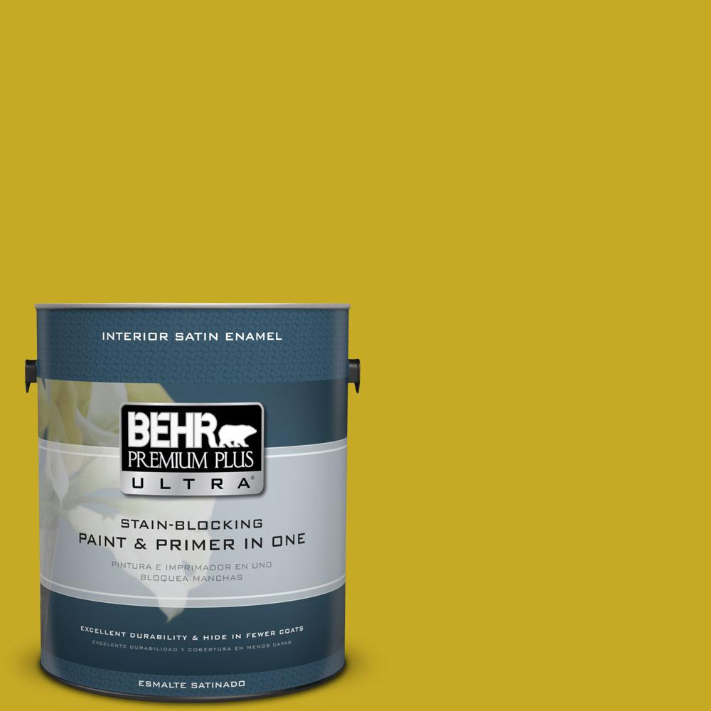 BEHR Premium Plus Ultra Home Decorators Collection 1-gal. #HDC-MD-03 Citronette Satin Enamel Interior Paint
