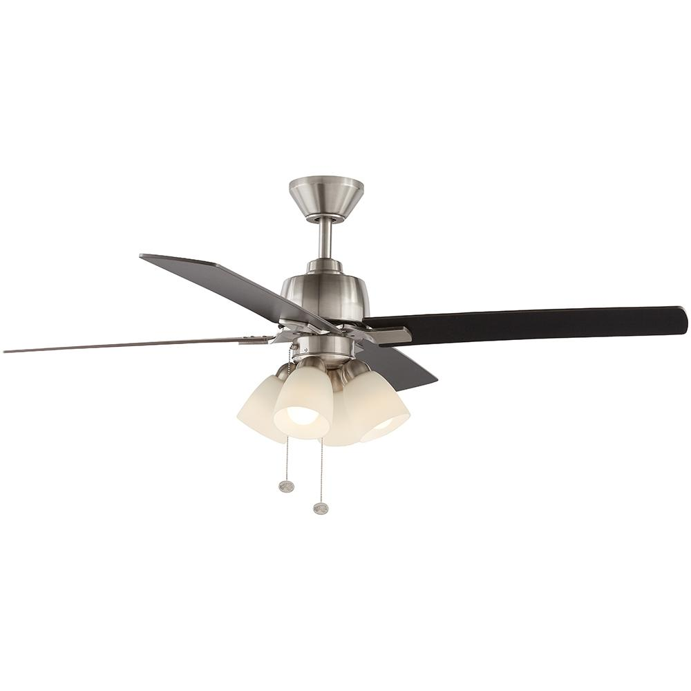 hamptonbay Hampton Bay Malone 54 in. LED Brushed Nickel Ceiling Fan with Light Kit