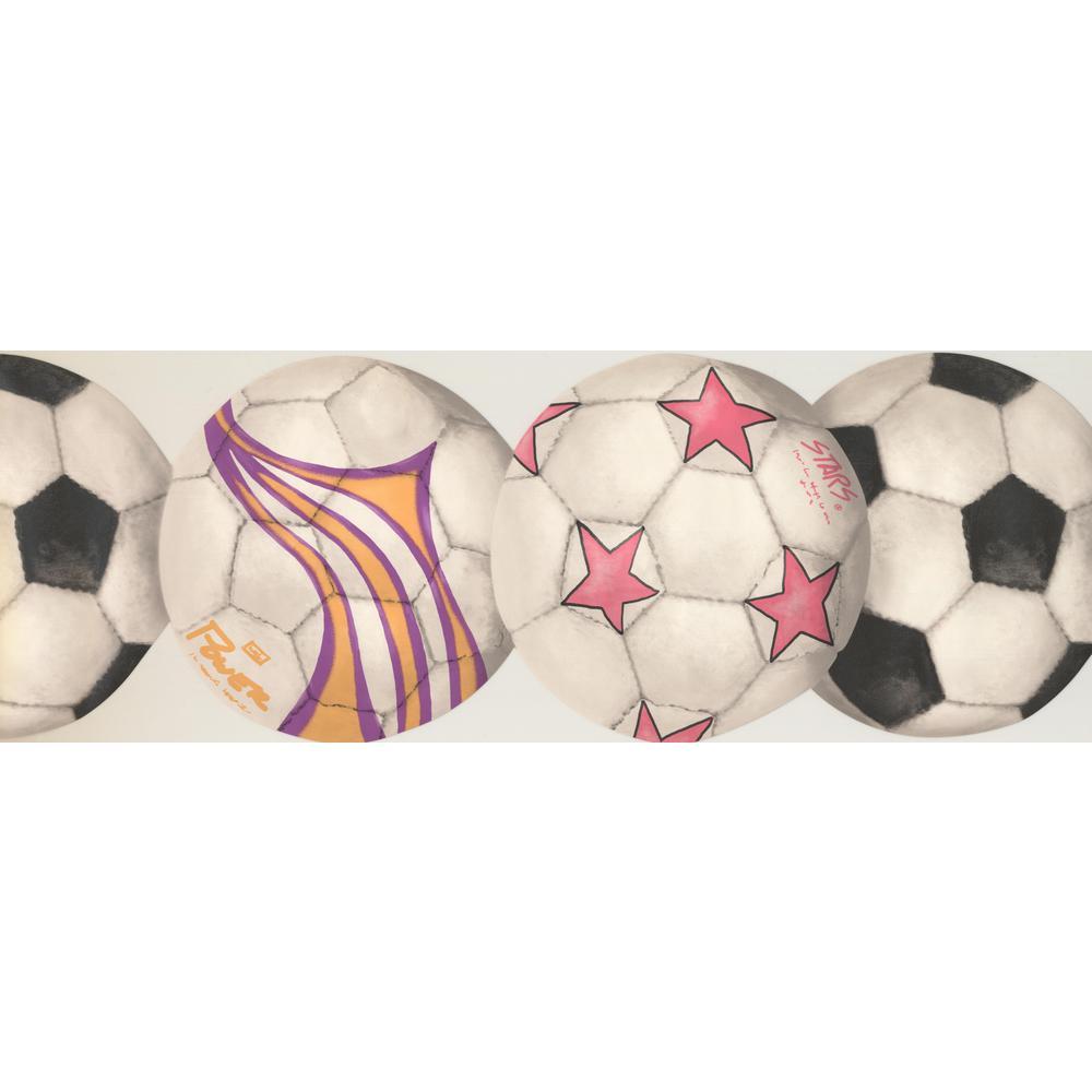 York Wallcoverings Soccer Football Balls Sports White Prepasted Wallpaper Border In2798b The Home Depot