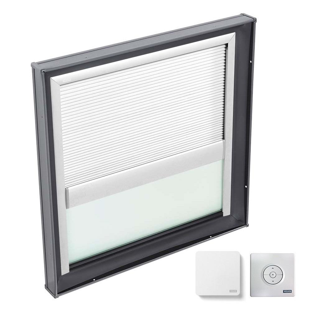 VELUX 46-1/2 in. x 46-1/2 in. Fixed Curb Mount Skylight with Laminated Low-E3 Glass & White Solar Powered Room Darkening Blind