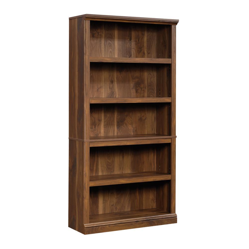 69 in. Grand Walnut Engineered Wood 5-Shelf Bookcase