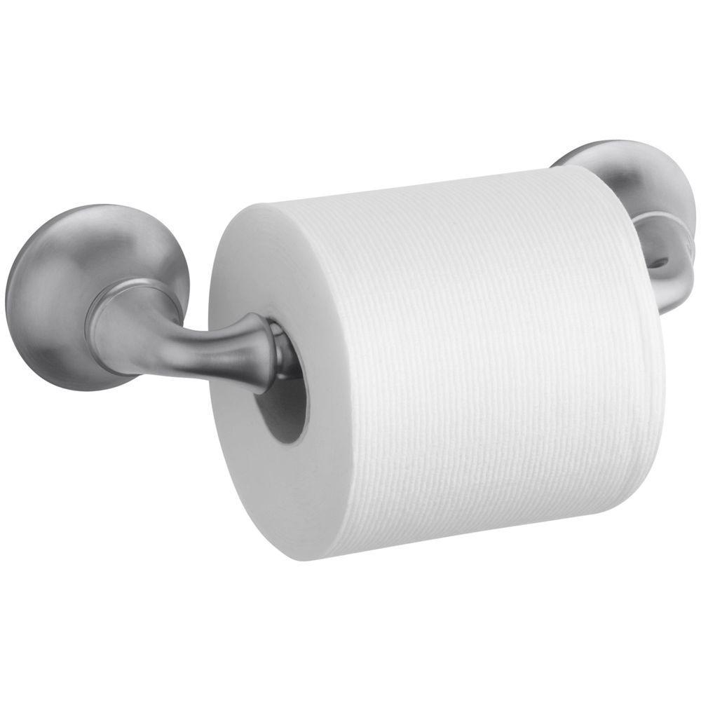 Kohler Forte Sculpted Wall Mount Double Post Toilet Paper Holder In Brushed Chrome