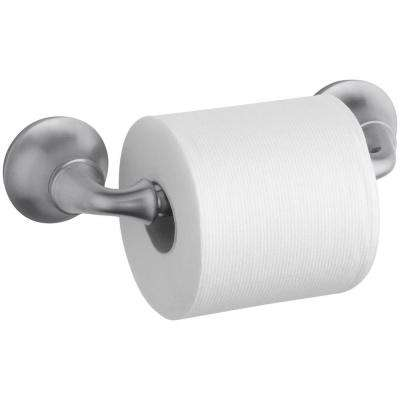Forte Sculpted Wall-Mount Double Post Toilet Paper Holder in Brushed Chrome
