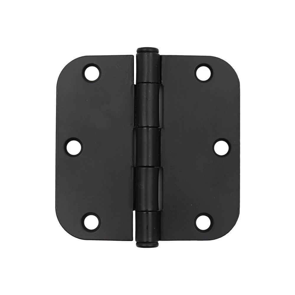 3-1/2 in. x 5/8 in. Radius Matte Black Door Hinge Value Pack (48-Pack)