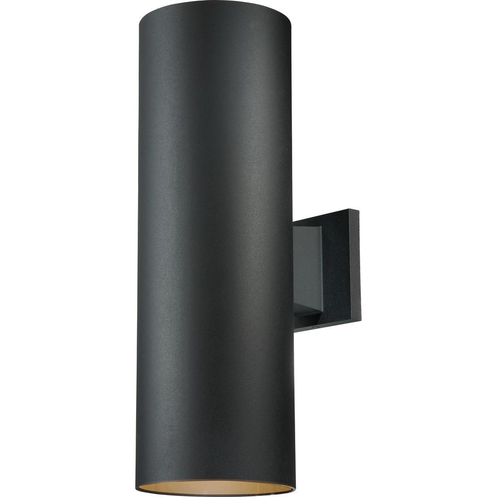 Volume Lighting Large 2 Light Black Aluminum Integrated Led Outdoor Indoor Wall Mount Cylinder Sconce