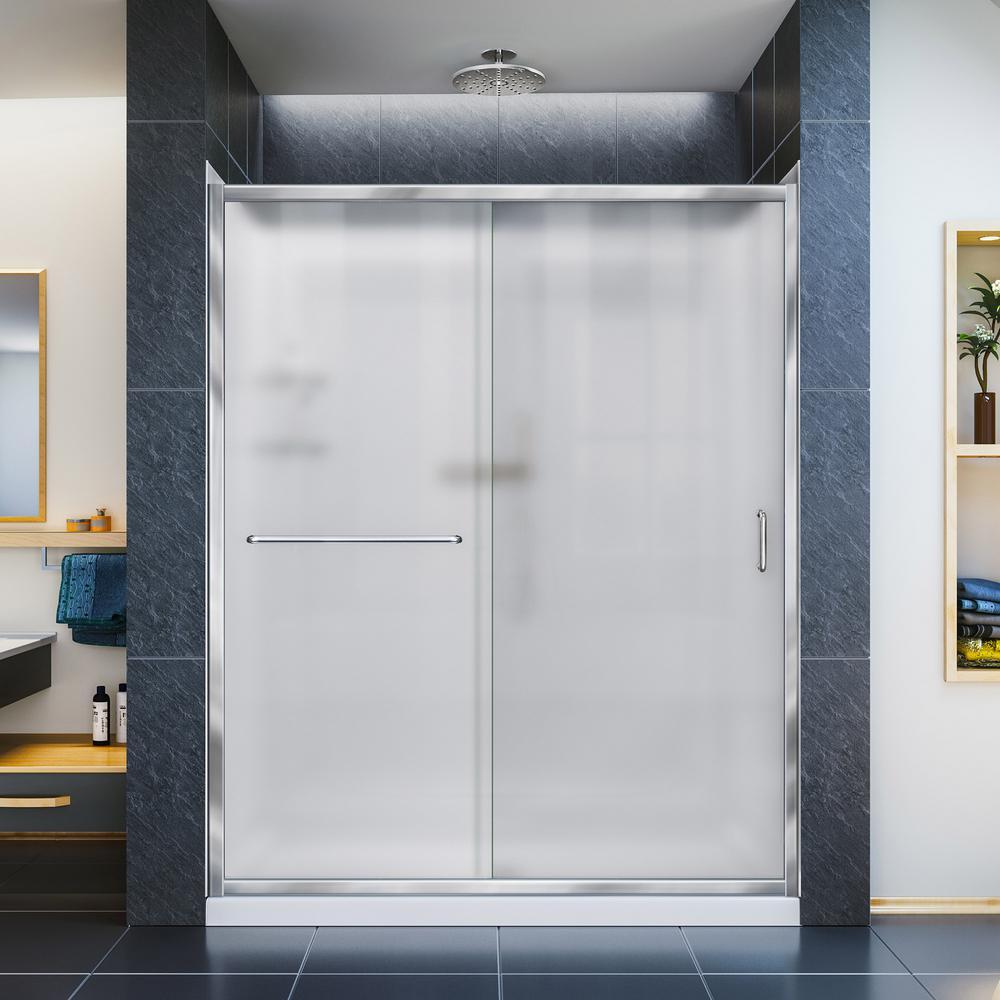 Infinity-Z 32 in. x 60 -Frameless Sliding Shower Door in Chrome with Center Drain Base and Backwalls