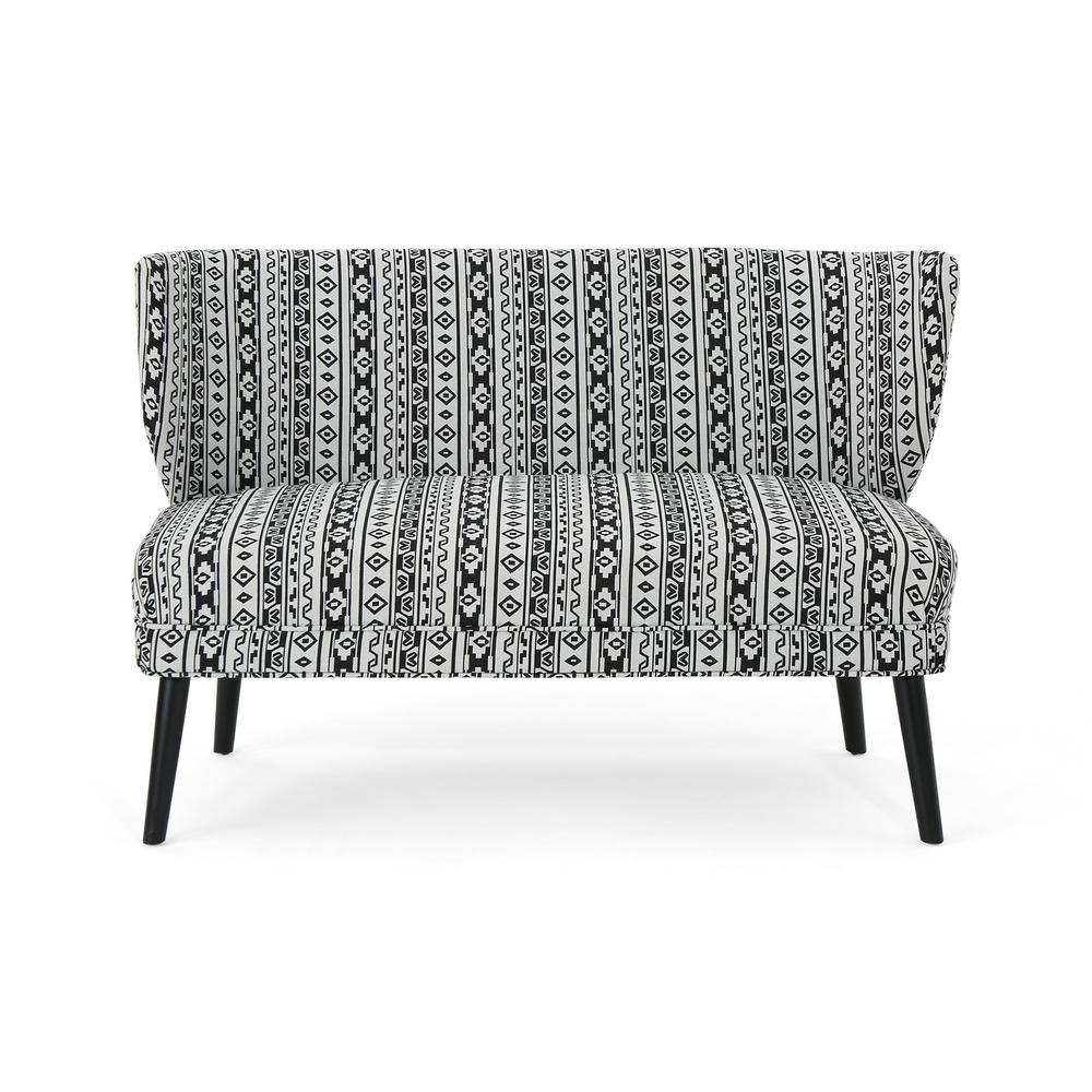 Fantastic Noble House Desdemona Boho Black Aztec Fabric Settee 42756 Pabps2019 Chair Design Images Pabps2019Com