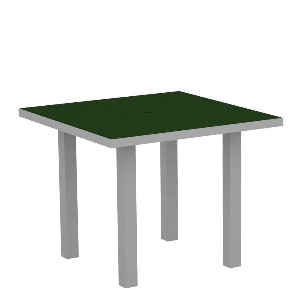Euro Textured 36 in. Silver Square Patio Dining Table with Green