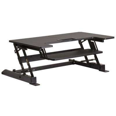 HERCULES Series 36.25 in. W Black Sit/Stand Height Adjustable Desk with Height Lock Feature and Keyboard Tray