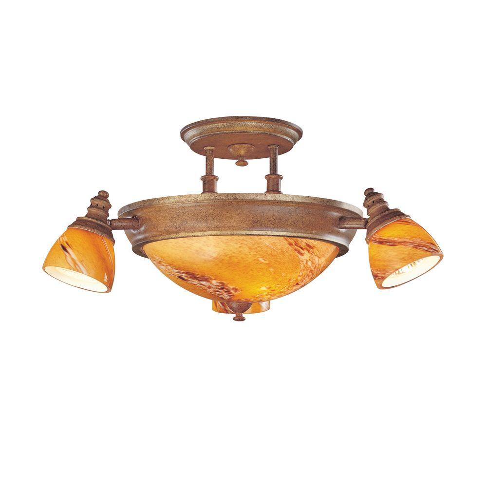 Hampton bay 17 in 4 light walnut semi flushmount with decorative 4 light walnut semi flushmount with decorative art glass aloadofball Images