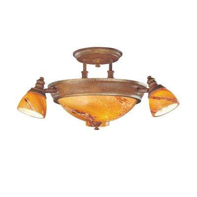 4-Light Walnut Ceiling Semi-Flush Mount Light