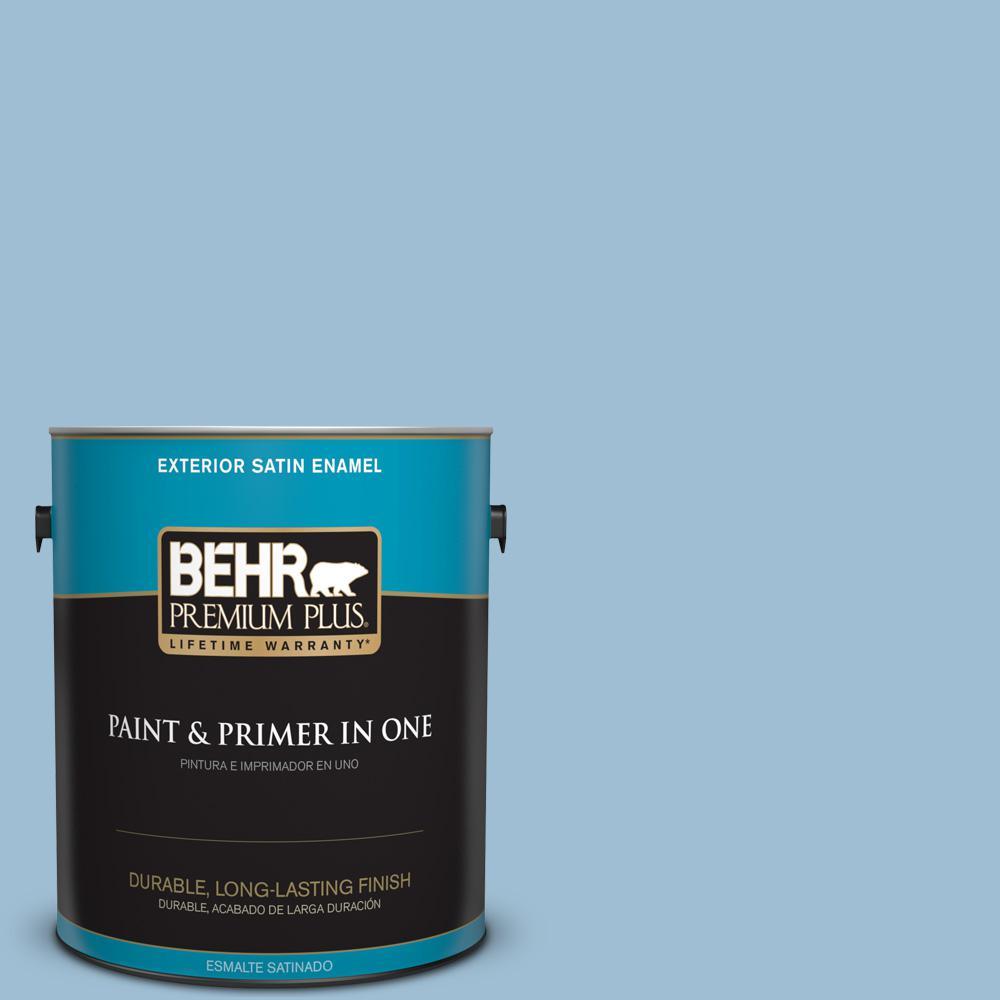 1 gal. #PPU14-11 Gentle Sky Satin Enamel Exterior Paint