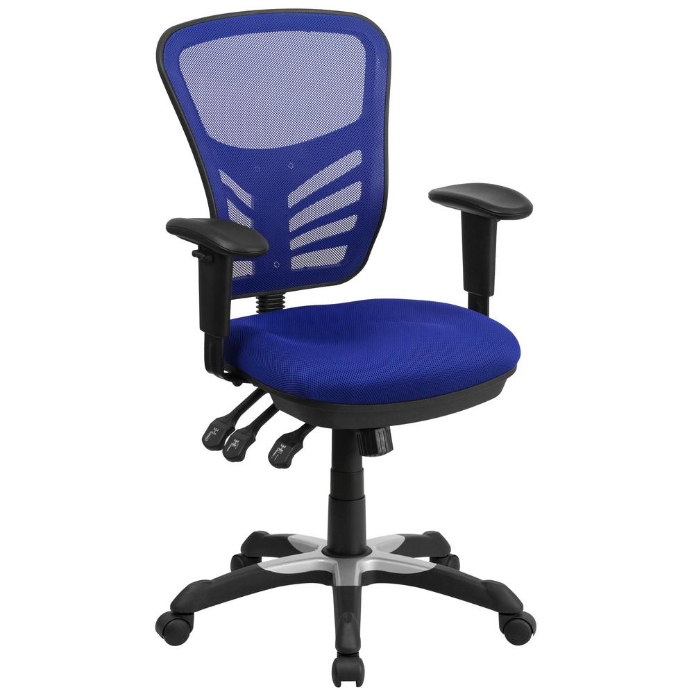 Mid-Back Blue Mesh Swivel Task Chair with Triple Paddle C...