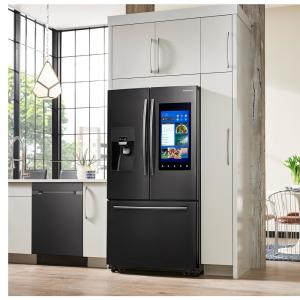 Samsung 24 2 cu  ft  Family Hub French Door Smart Refrigerator in Black  Stainless