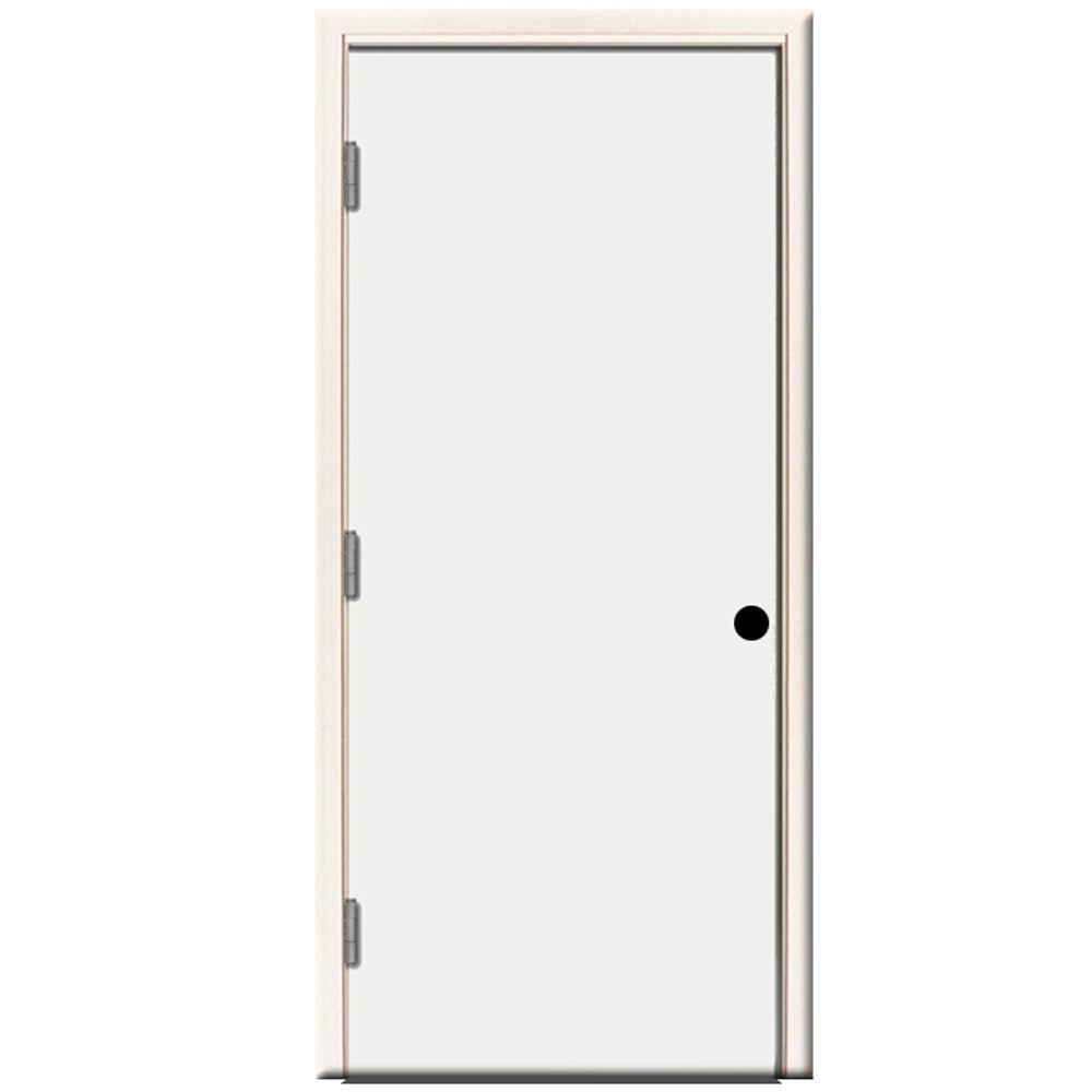 Premium Flush Primed White Right Hand Outswing Steel Prehung Front Door With 4 In Wall