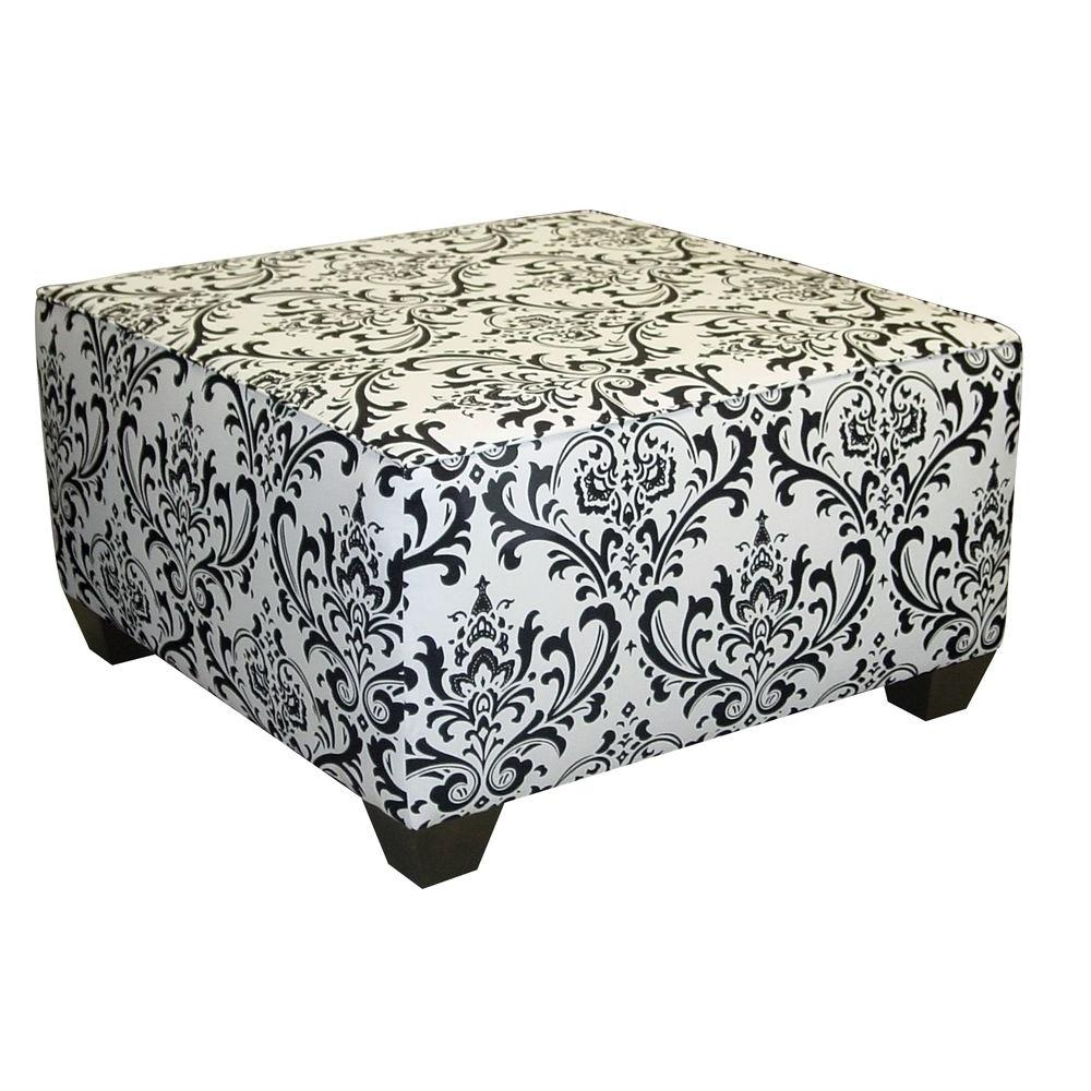 Home Decorators Collection Traditions Damask Square Cocktail Ottoman in Black and White