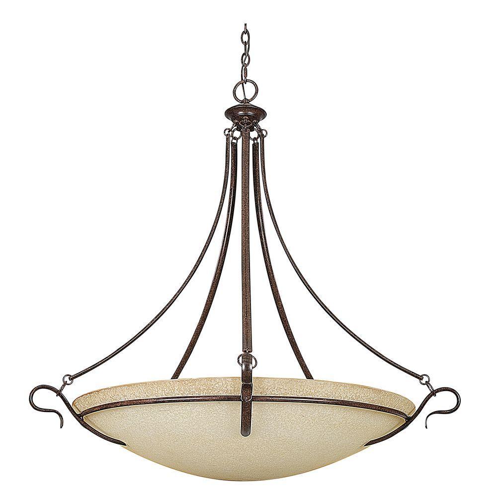 Venice 5-Light Rubbed Bronze Large Bowl Pendant