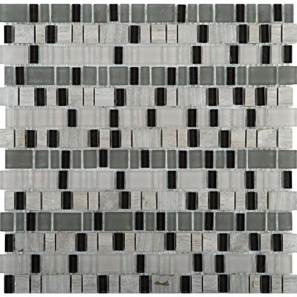 Unique Ode Glossy 12.01 in. x 12.13 in. x 4mm Glass Mesh-Mounted Mosaic Tile (1.02 sq. ft.)
