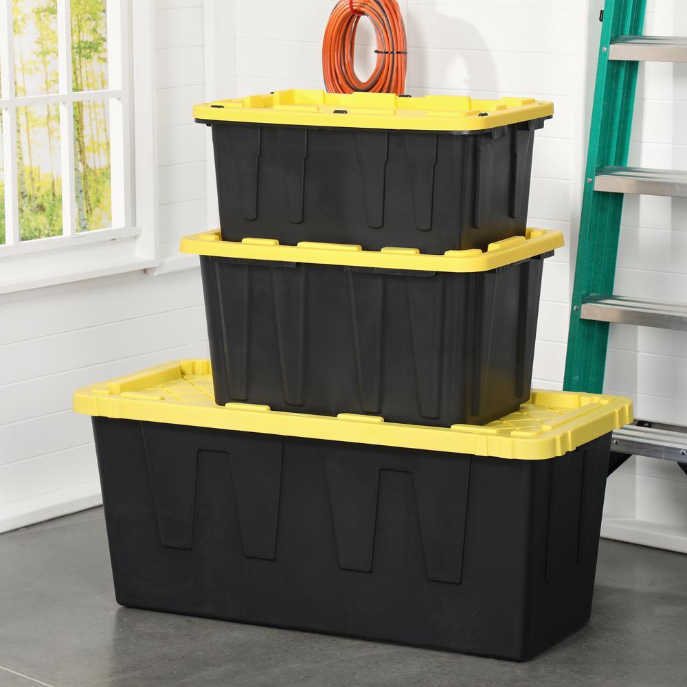 Hdx 27 Gal Tough Storage Tote In Black, Home Depot Storage Baskets