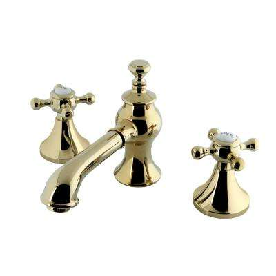 English Cross 8 in. Widespread 2-Handle Mid-Arc Bathroom Faucet in Polished Brass