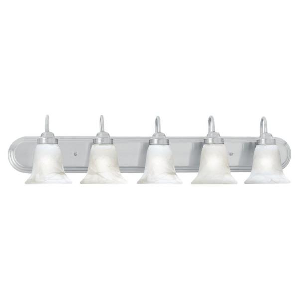 Thomas Lighting Homestead 5 Light Brushed Nickel Wall Vanity Light Sl758578 The Home Depot