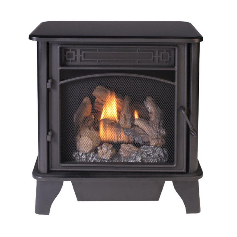 ProCom 23,000 BTU Ventless Dual Fuel 3-Sided Gas Stove The Gas Stove has patented NextGen Dual Fuel technology is supported by a solid, black-finished steel frame. Its ventless design makes it ideal for indoor use. Producing real flames and up to 23,000 BTUs of warmth to service up to 850 sq. ft. This is the perfect heating addition for your home.