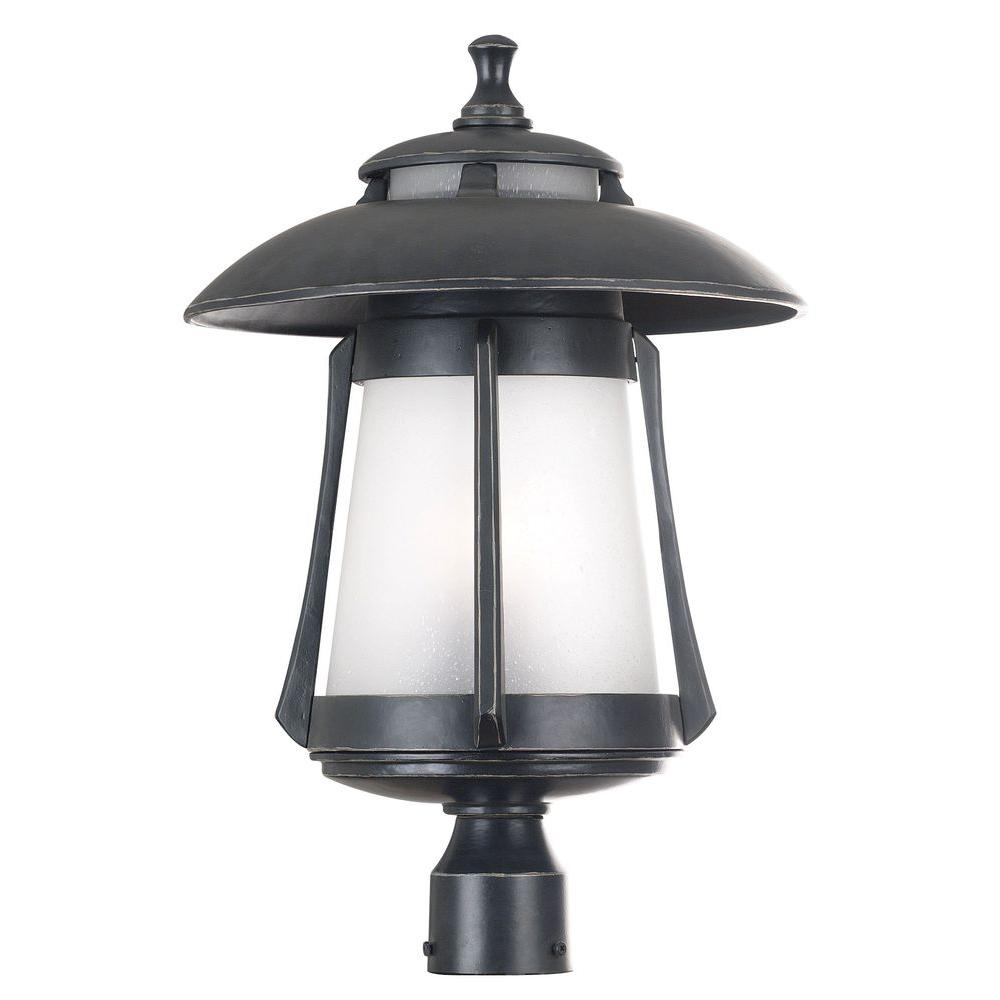 Kenroy Home Laguna 3-Light Large Ebony Pearl Post Lantern-DISCONTINUED