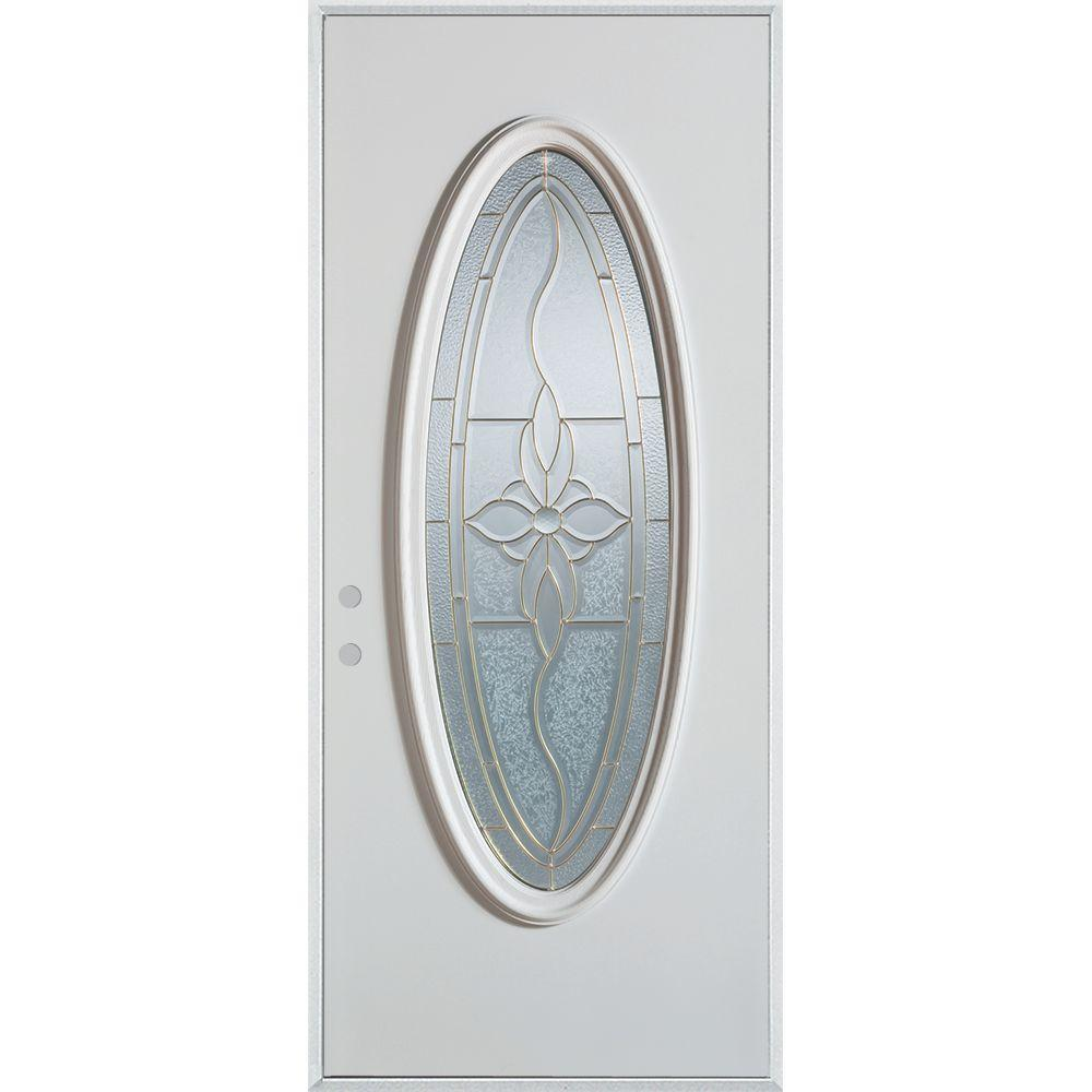 Stanley Doors 36 in. x 80 in. Traditional Patina Oval Lite Prefinished White Right-Hand Inswing Steel Prehung Front Door