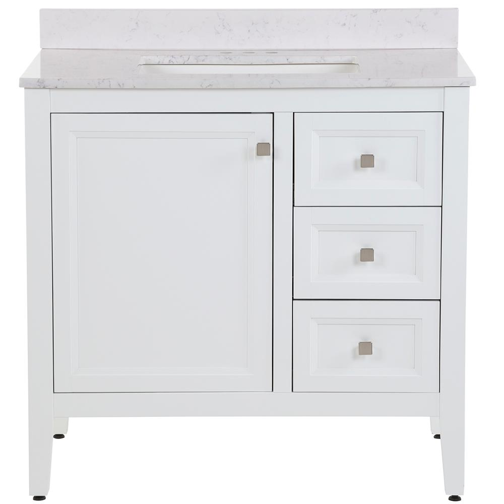 MOEN Darcy 37 in. W x 22 in. D Bath Vanity in White with Stone Effects Vanity Top in Pulsar with White Sink