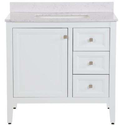 Darcy 37 in. W x 22 in. D Bath Vanity in White with Stone Effects Vanity Top in Pulsar with White Basin