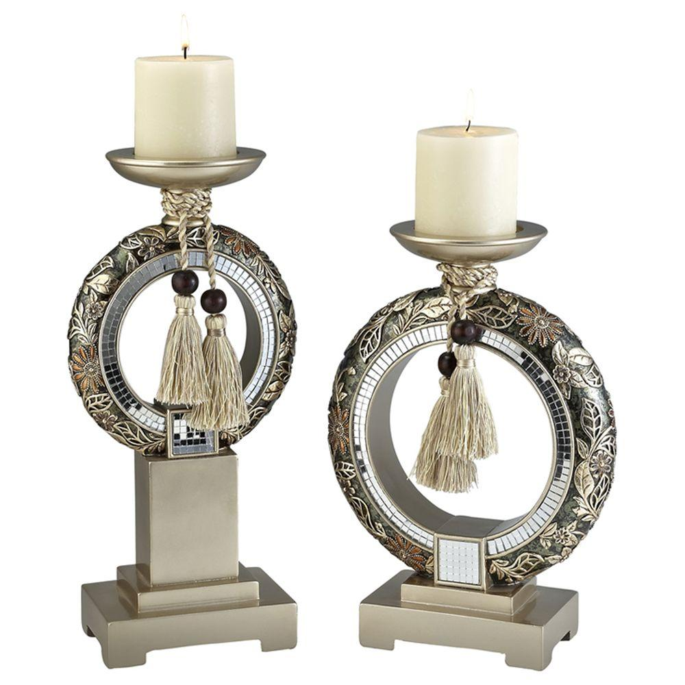 12 in. / 14 in. H Chrysanthemum Candle Holder Set, Yellow...