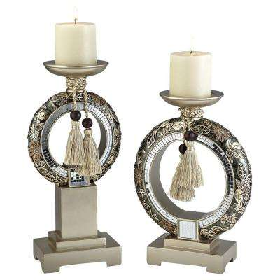 12 in. / 14 in. H Chrysanthemum Candle Holder Set