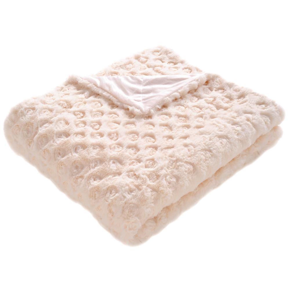 Pebbles 60 in. x 72 in. Cream Throw Blanket
