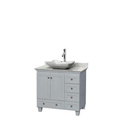 Acclaim 36 in. W x 22 in. D Vanity in Oyster Gray with Marble Vanity Top in Carrera White with White Basin