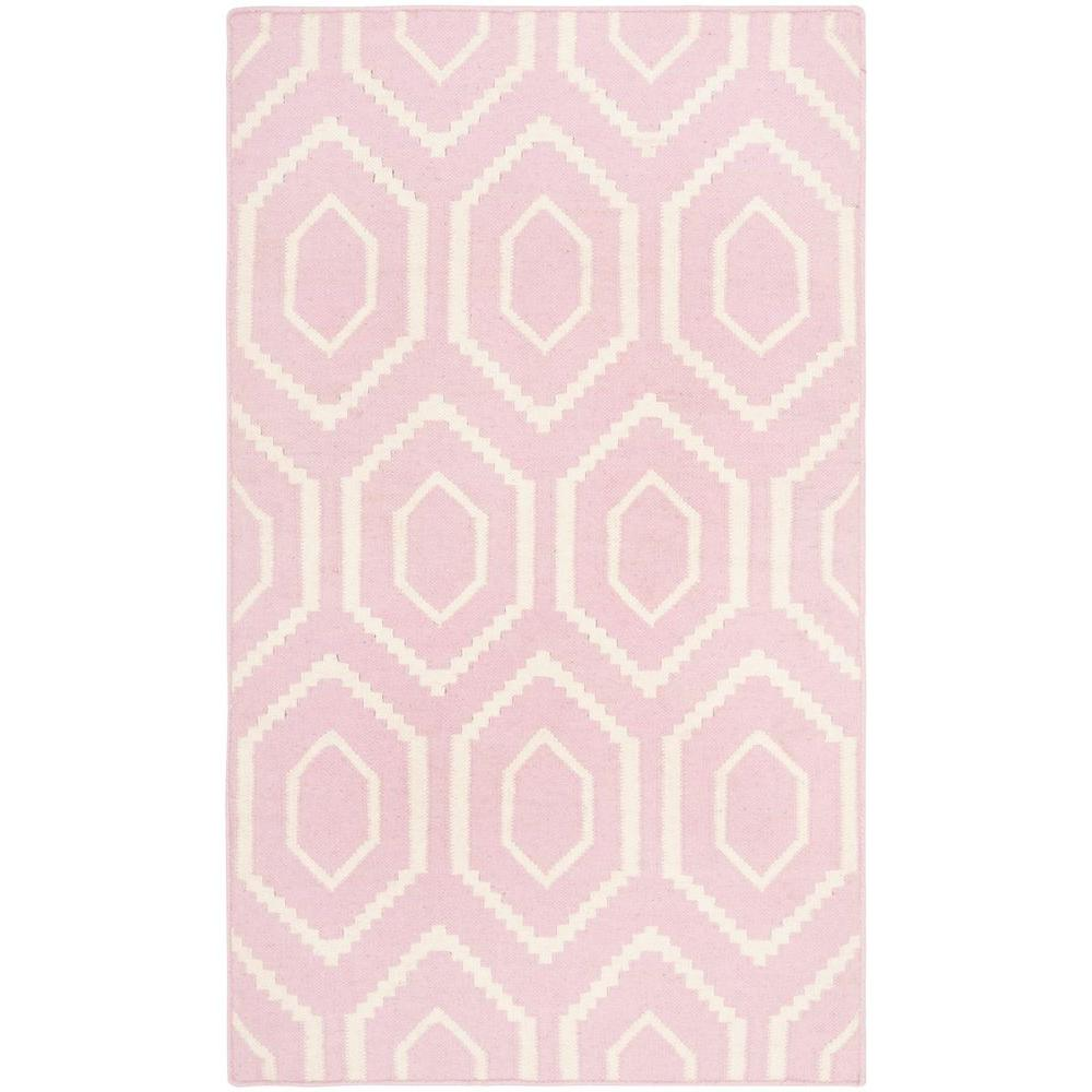 Dhurries Pink/Ivory 4 ft. x 6 ft. Area Rug