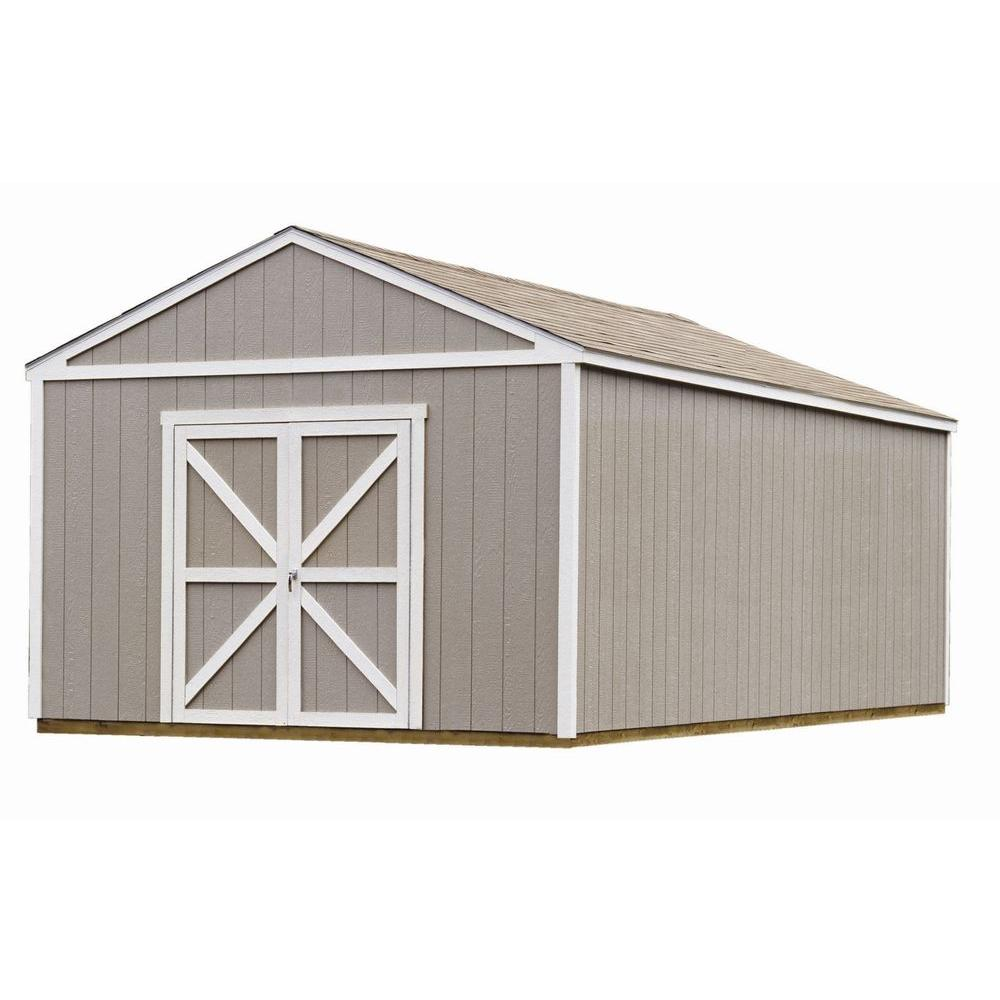 Handy Home Products Columbia 12 ft. x 24 ft. Wood Storage Building Kit with Floor