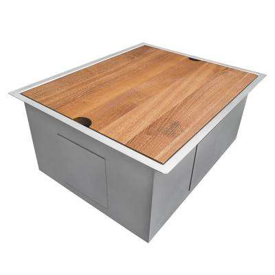 Undermount Stainless Steel 23 in. Workstation Single Bowl 16-Gauge Ledge Kitchen Sink