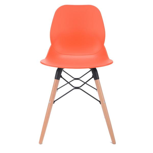 CozyBlock Joy Series Orange Dining Shell Side Designer Task Chair with Beech Wood Legs (Set of 2) - Great for Home, Office