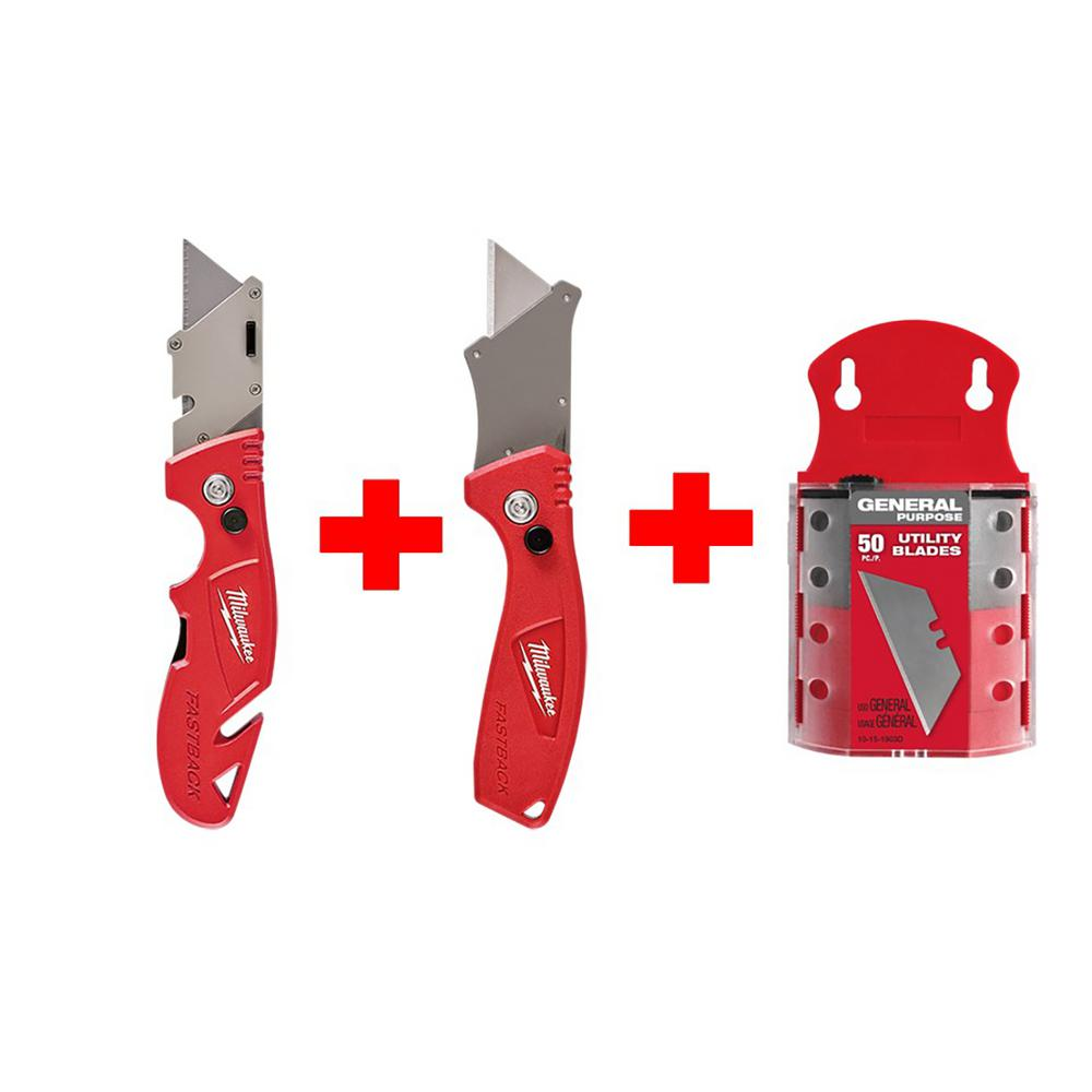 Milwaukee Milwaukee Fastback Flip Utility Knife Set with Utility Blades (50-Pack)