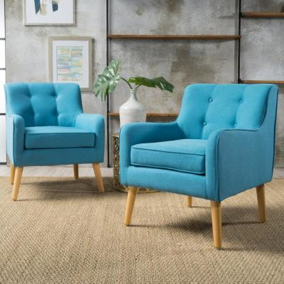 Felicity Mid-Century Modern Button Back Teal Fabric Armchairs (Set of 2)