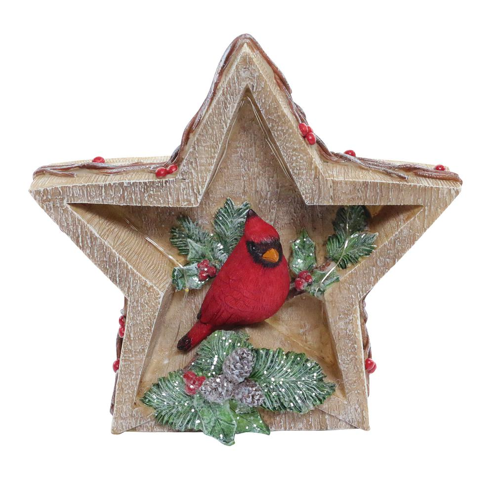 Alpine Corporation 9 in. T Alpine Cardinal in Star Decor with LED Lights-WQA734 - The Home Depot