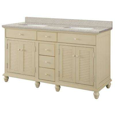 Cottage 61 in. W x 22 in. D Vanity in Antique White with Engineered Marble Vanity Top in Sedona with White Basin