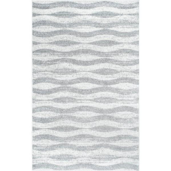 Tristan Modern Striped Gray 10 ft. x 14 ft. Area Rug