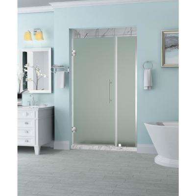 Belmore 50.25 in. to 51.25 in. x 72 in. Frameless Hinged Shower Door with Frosted Glass in Stainless Steel