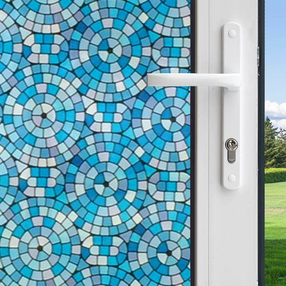 Gila 36 in. x 78 in. Mosaic Circles Decor Series Privacy Control Window Film