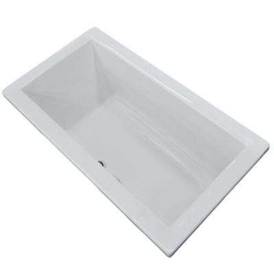 Sapphire 6 ft. Acrylic Center Drain Rectangular Drop-in Non-Whirlpool Bathtub in White