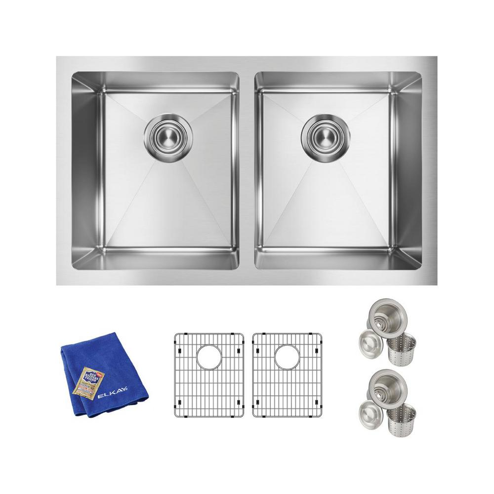Elkay Crosstown Undermount Stainless Steel 31 in. Double Bowl Kitchen Sink with Bottom Grids and Drains, Silver was $470.37 now $235.19 (50.0% off)