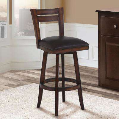 Brown Faux Leather And Pecan Wood Finish Swivel Barstool